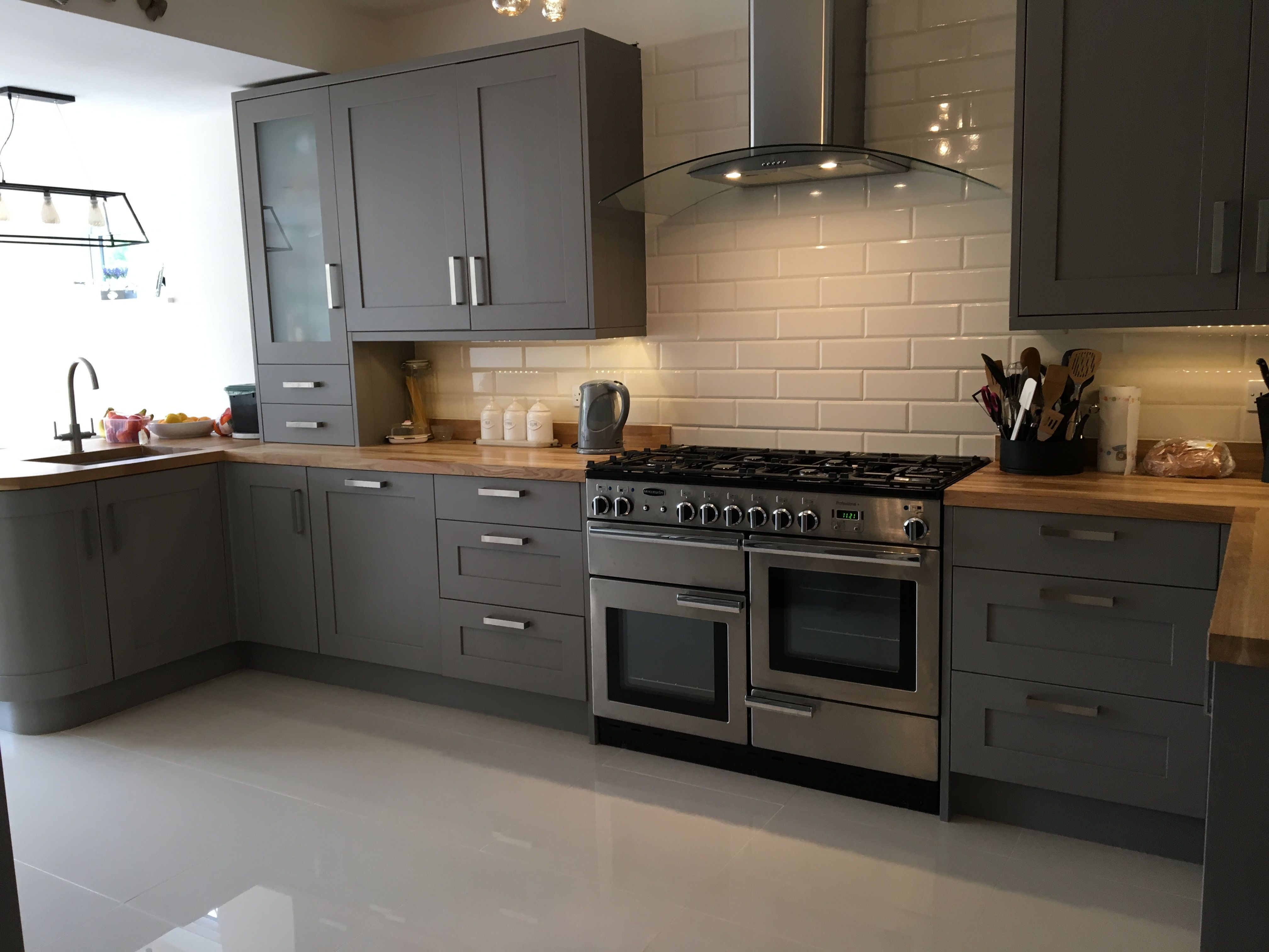Carisbrook Taupe B & Q Kitchen With Oak Worktops.