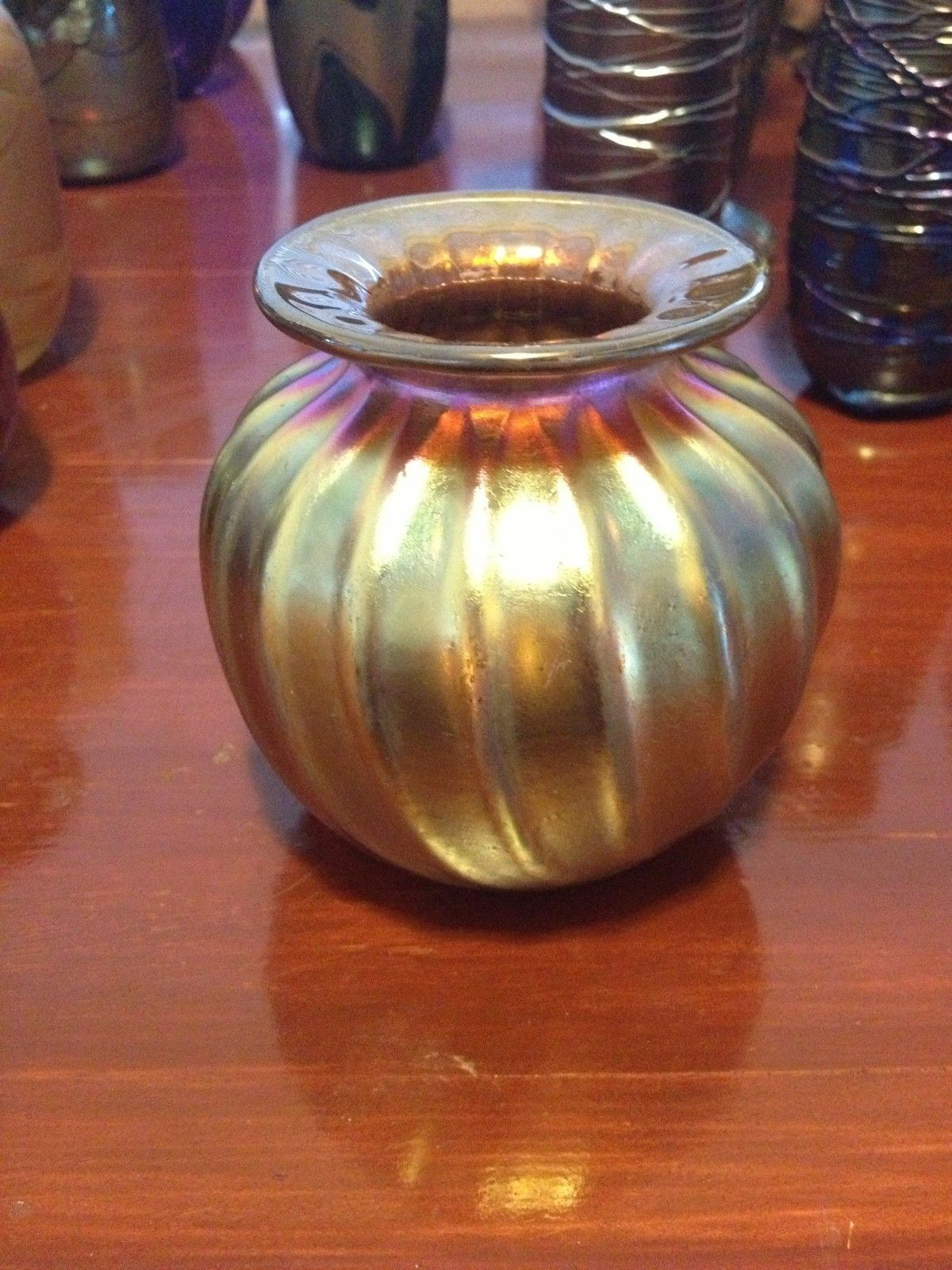 Wedding Collection Tiffany Style Vintage Art Glass Vase Evan Chambers Centerpiece