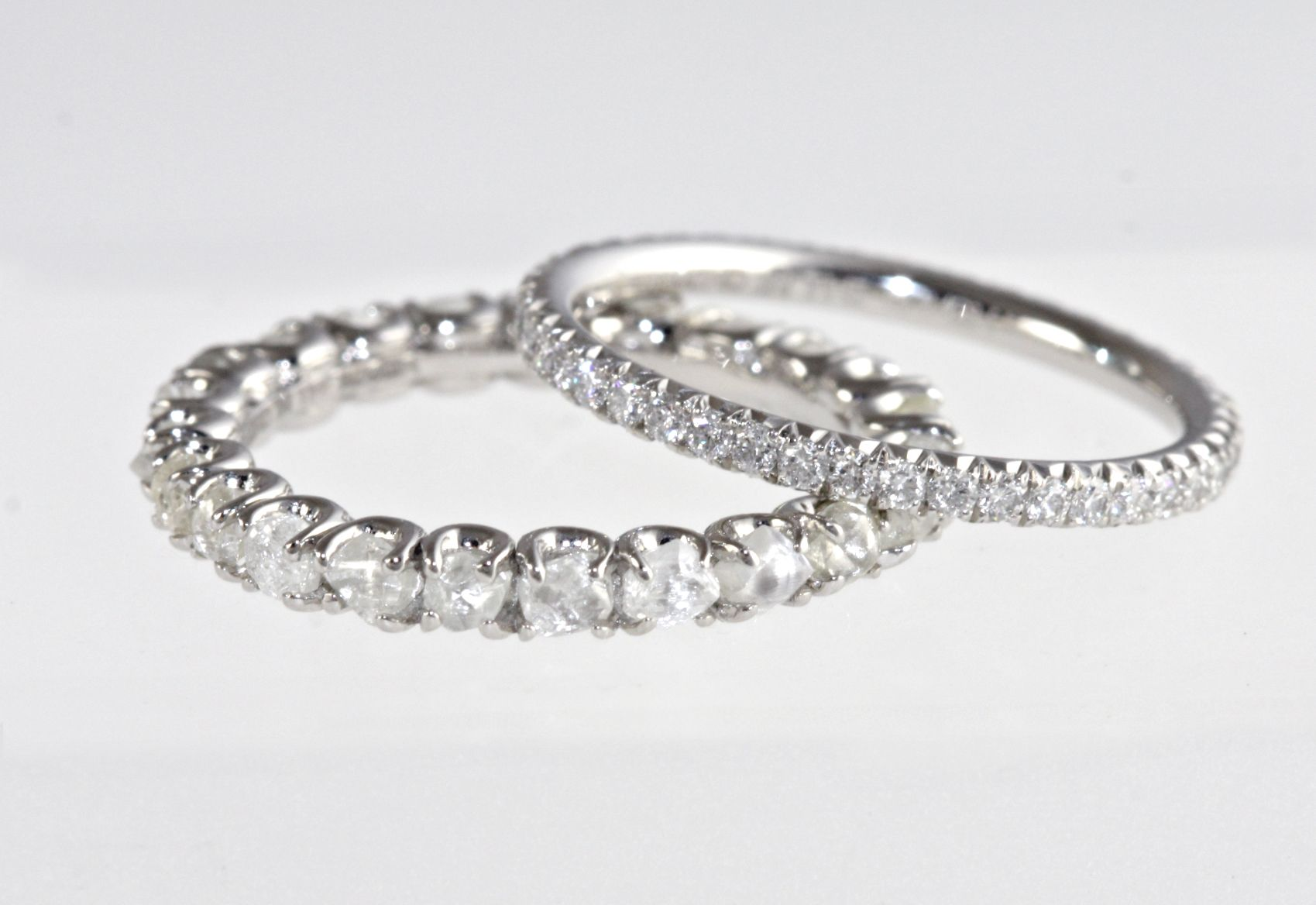 A Rough Diamond Band And Micro Pave Eternity Both Elegant Wedding Bands That Could Even Be Paired Together Weddingrings Ringset