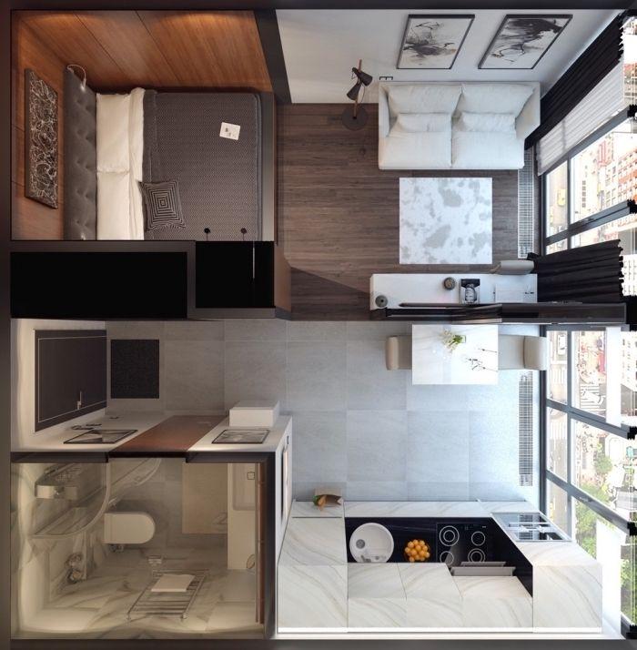 studio 20m2 plans petits appartement
