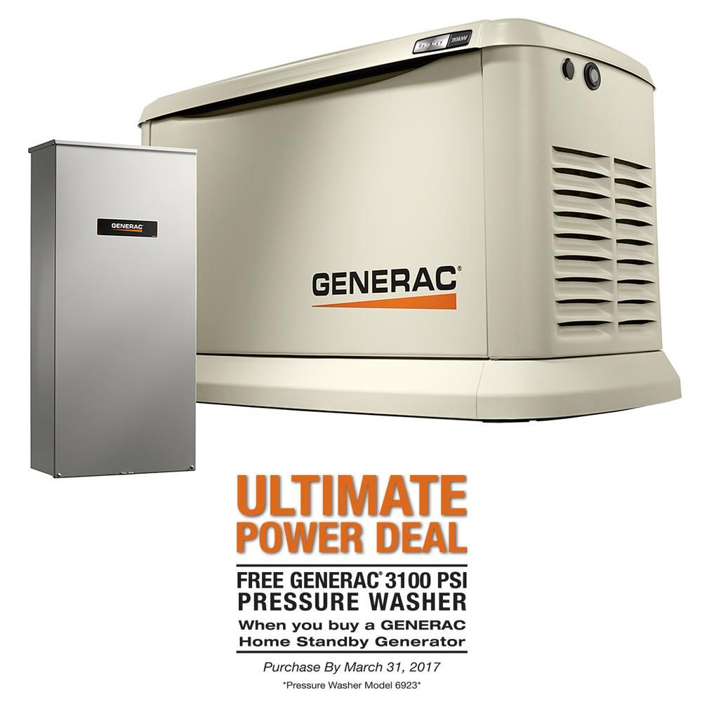 Synergy 20 000 Watt Air Cooled Variable Speed Standby Generator With 200 Amp Automatic Transfer Switch Transfer Switch Power Generator Portable Generator
