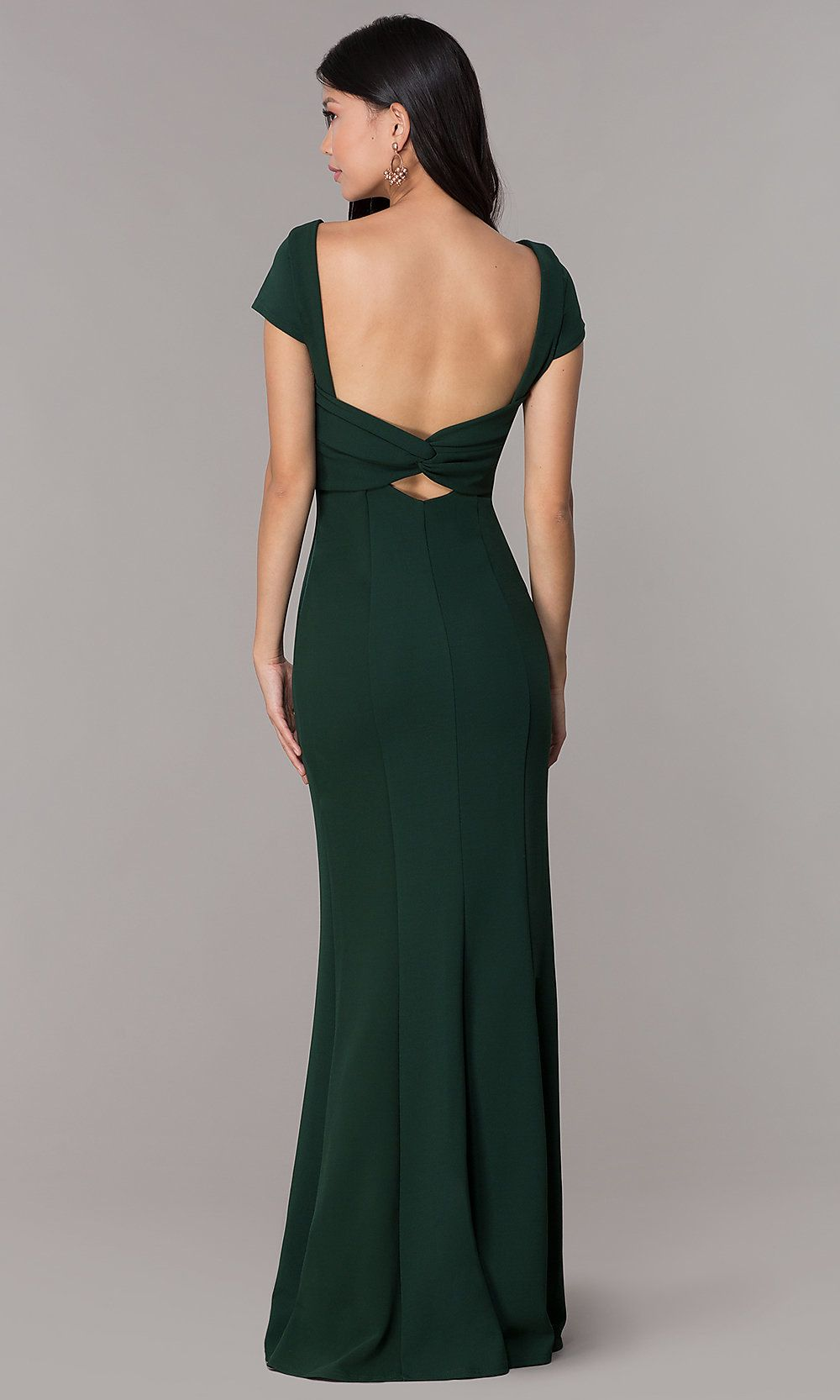 dd0d5543979 Long Navy Short-Sleeve Prom Dress with Open Back