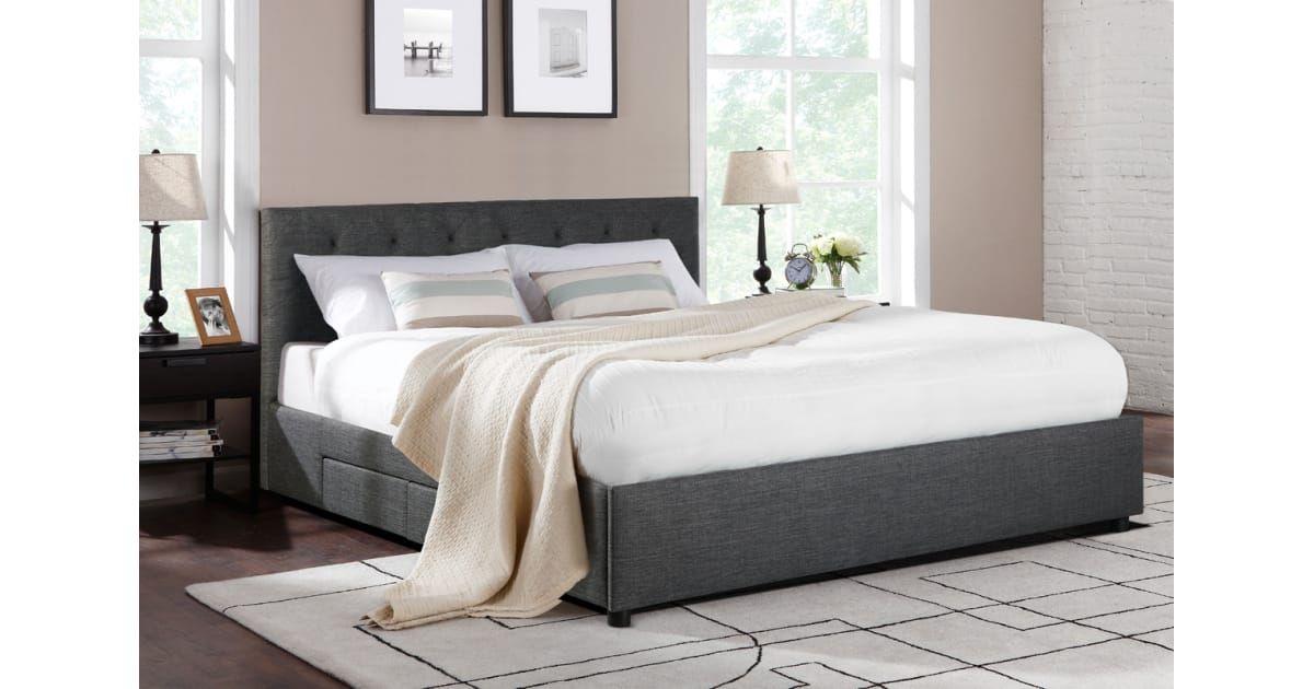 Buy Ovela Bed Frame Ferrara 4 Drawer Collection Dark Grey