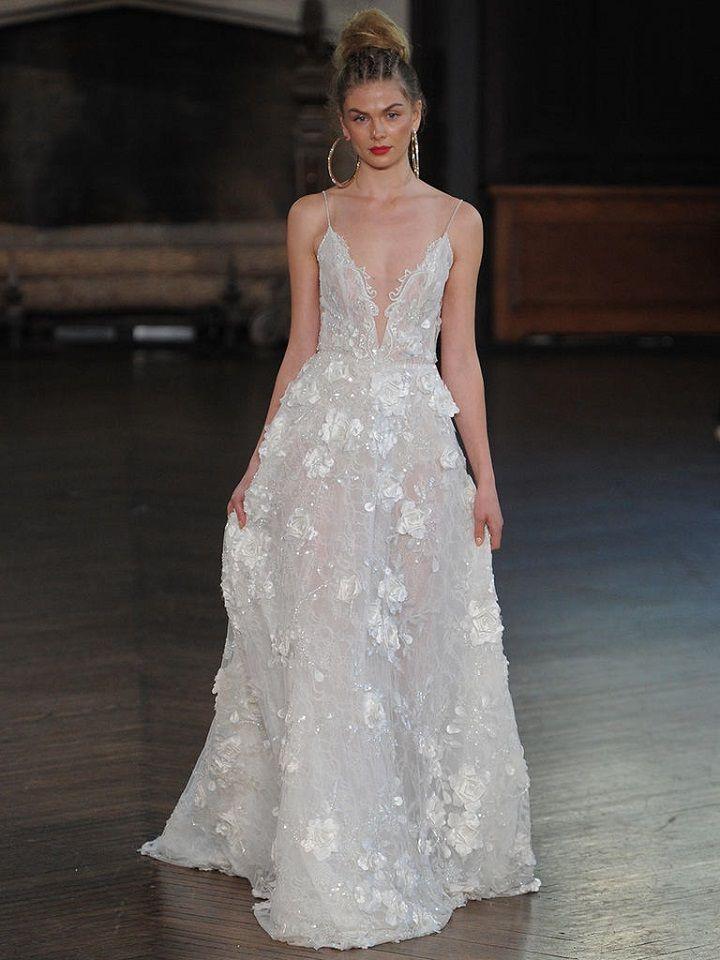 Berta floral wedding gown with plunging neckline | itakeyou.co.uk #wedding #weddingfashion #bridal #weddingdress #weddinggown #bridalgown #weddingdresses #weddinggowns #berta #bridalinspiration #weddinginspiration #engaged