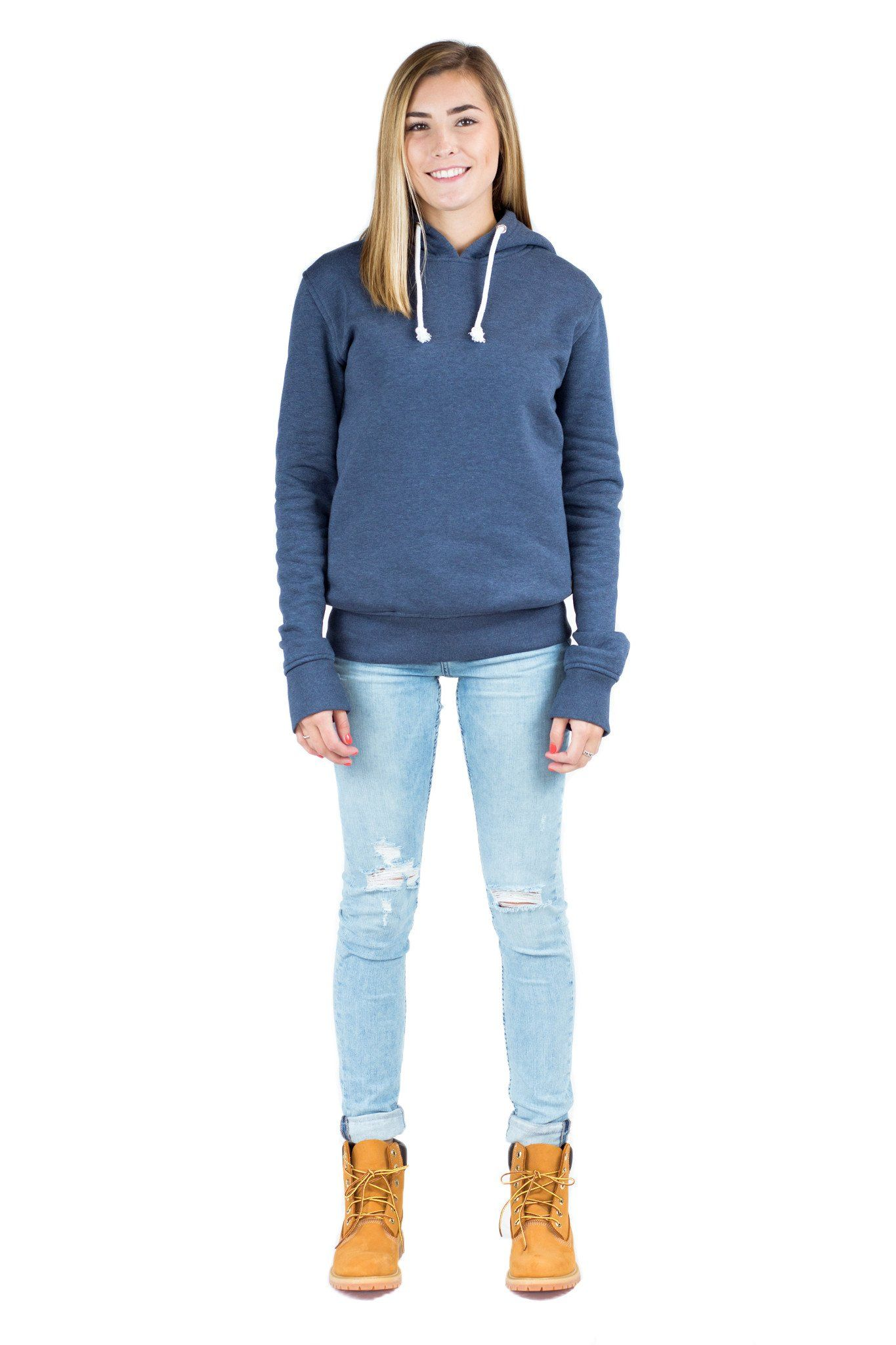 bc8ca7f561b Women Blue Pullover Hoodie with side zip pockets. Long sleeve