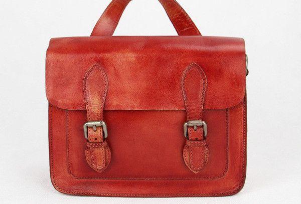 Handmade red vintage leather Satchel Bag crossbody Shoulder Bag for girl women