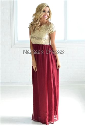 b665fa05746 The most beautiful Burgundy and Gold Sequin Dress! Love this for  bridesmaids and formal events!