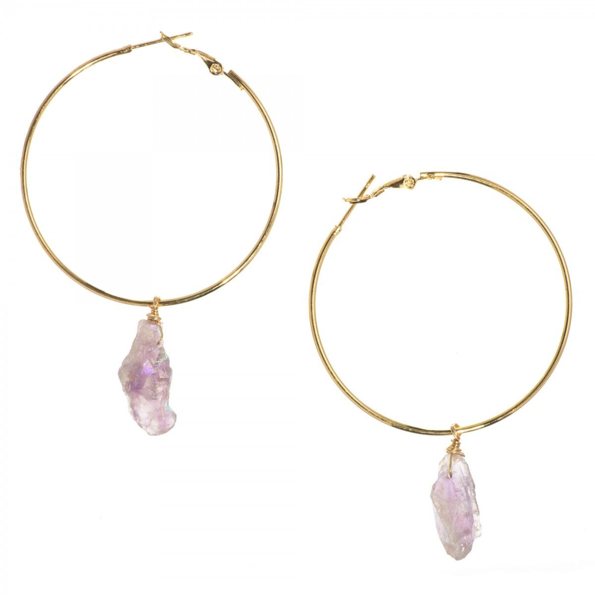 Luxe Wire Wrapped Ametrine Nugget Drop Hoop Earrings - Luxe Group ...