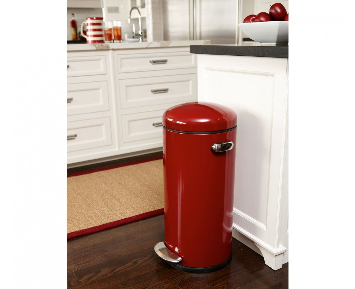 Simplehuman 30l Red Steel Retro Step Trash Can