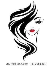 8c22bf718c0d illustration of women long hair style icon, logo women on white background,  vector
