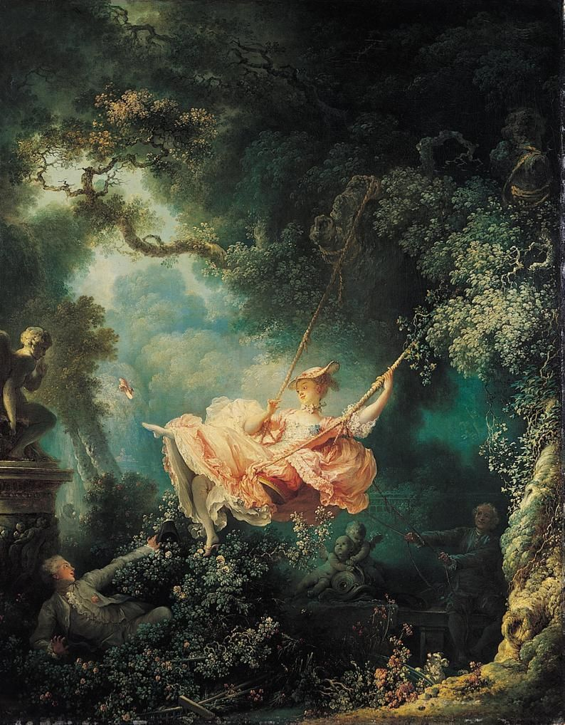 The Swing by Jean Honore Fragonard, various sizes. Giclee Canvas Art Print, not framed or stretched