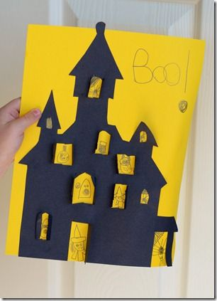 """A cute little Halloween craft idea.  Hayden would love this b/c of the """"Spooky House"""" Game on disney's website"""