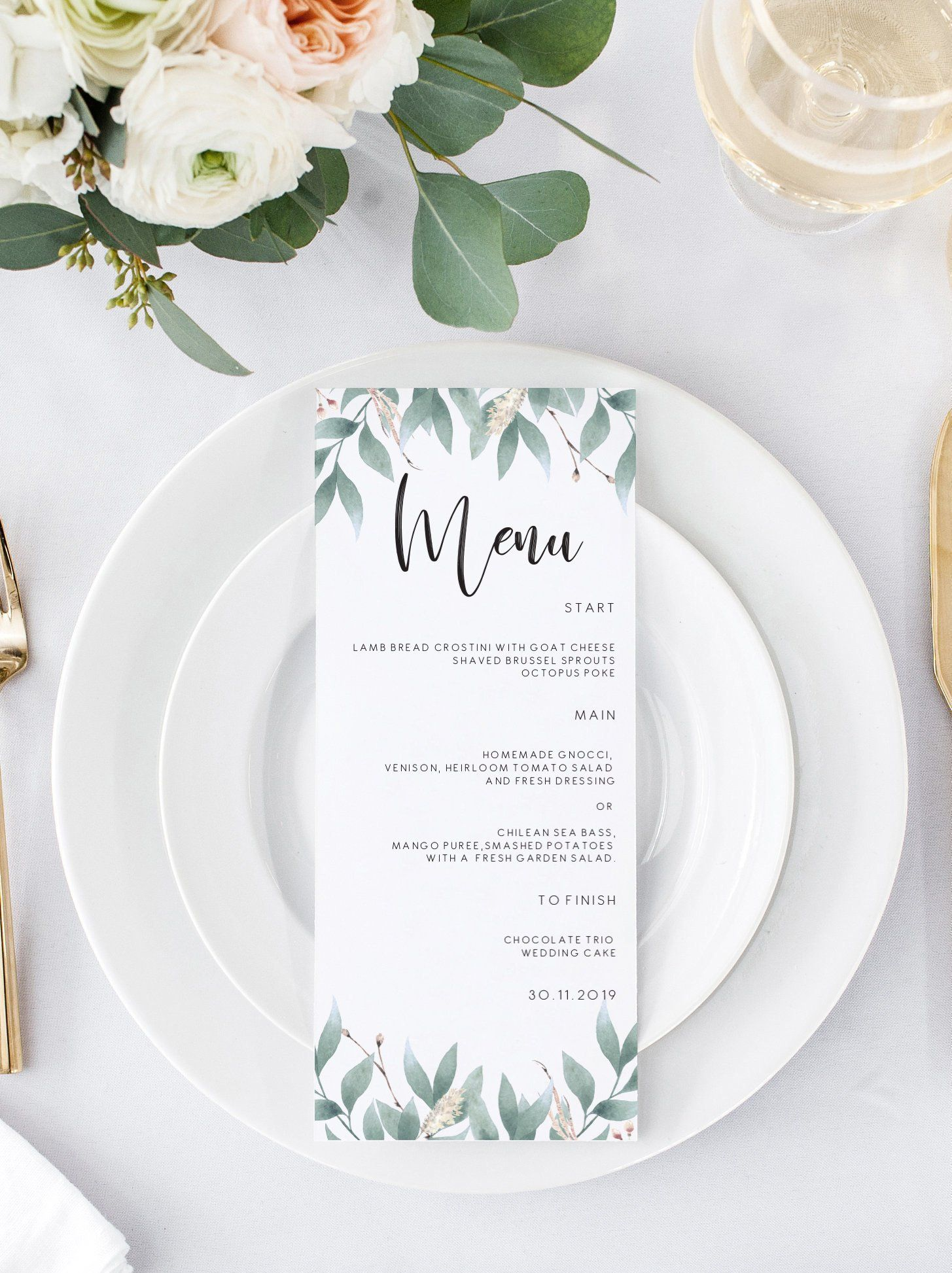 Editable Eucalyptus Wedding Menu card Greenery Wedding Menu Template Eucalyptus Menu Cards Menu Editable Menu Instant Download 103