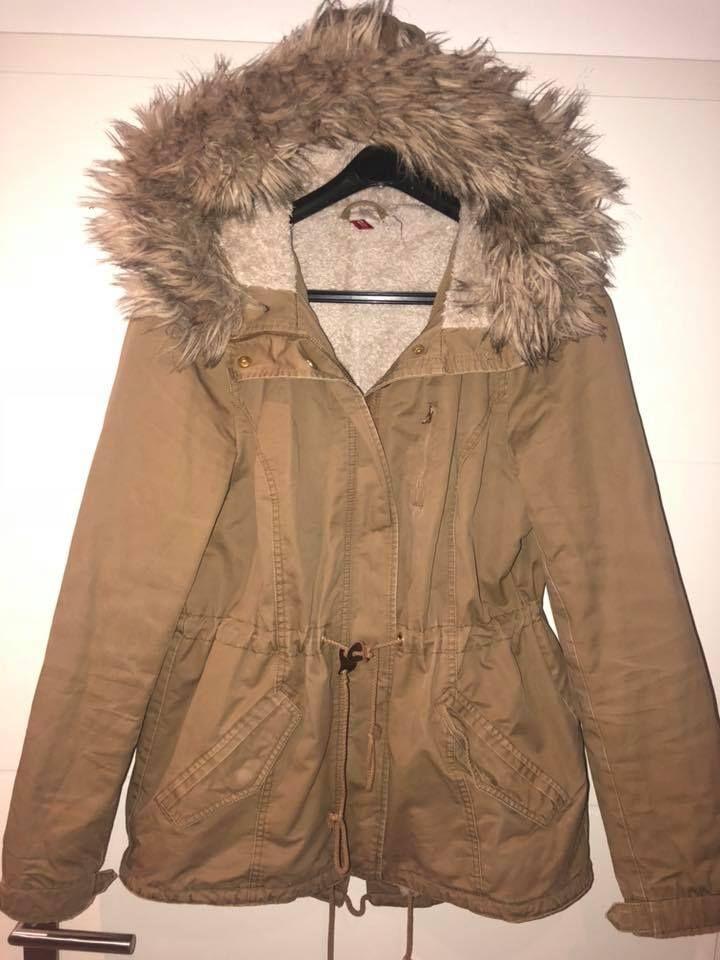 Braune Winterjacke Größe 44 15 € Schwarze Lederjacke ...