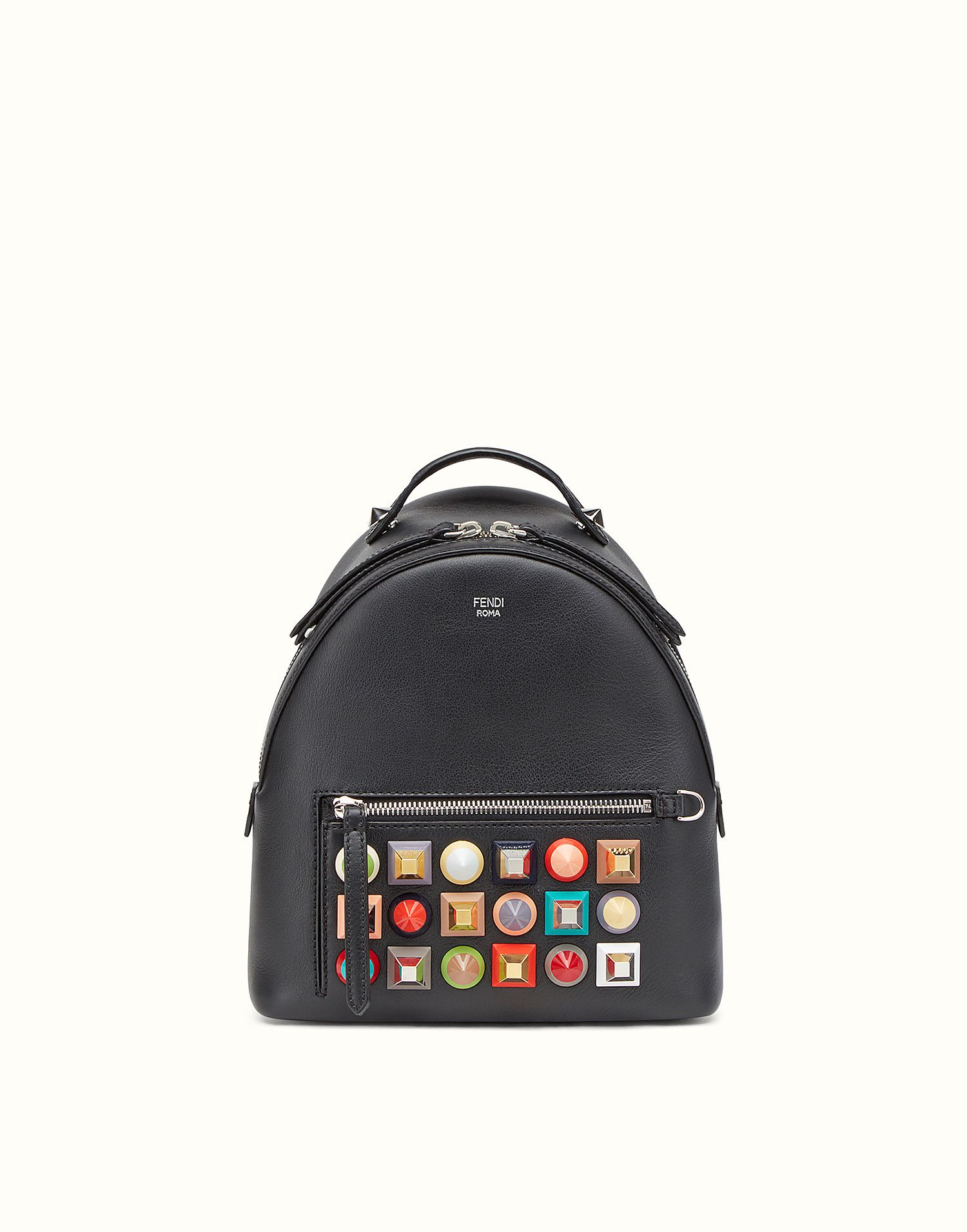 FENDI BACKPACK - in black leather with studs - view 1 zoom  e5db1756442af