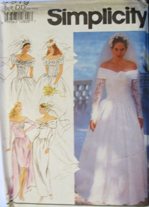 Misses Sewing Pattern 1990s Simplicity 7919 Wedding Dress Pattern Bridesmaid Dress S Wedding Dress Sewing Patterns Sewing Wedding Dress Wedding Dress Patterns
