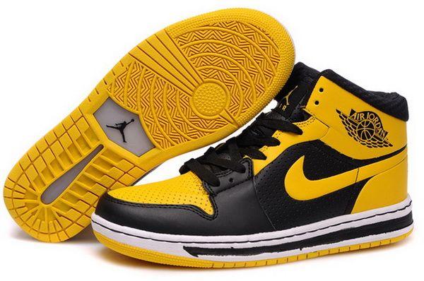 726eed0adbe83 Hot Sale Nike Air Jordan 1 Black Yellow Retro Men In Stock http