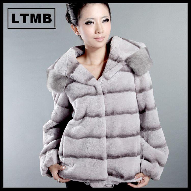 LTMB4124 Women rex rabbit fur coat gray fur jacket hooded with mink fur edge sriped printing regular length US $1,000.00 - 1,060.00