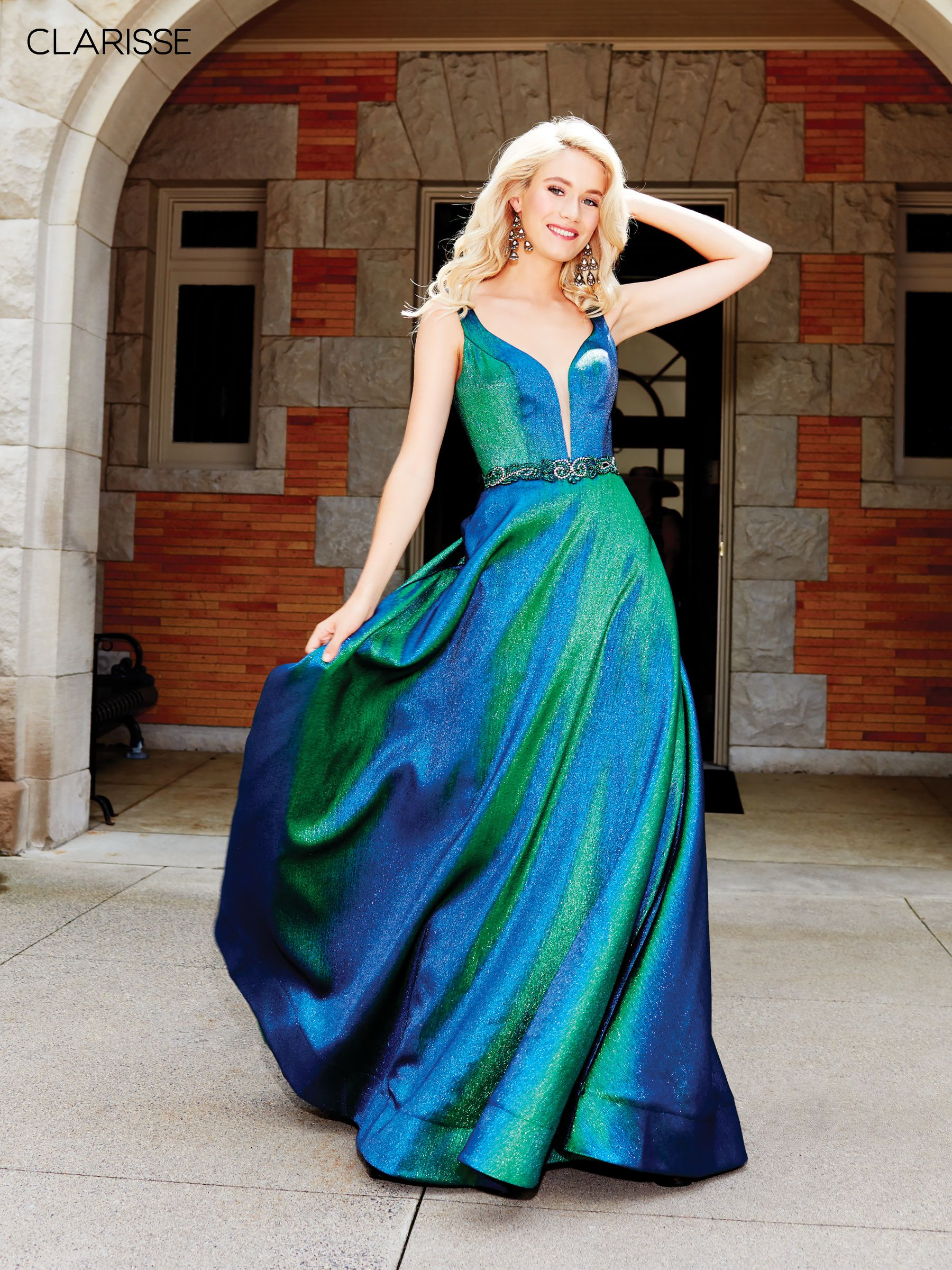 3859 iridescent green novelty ball gown with a beaded