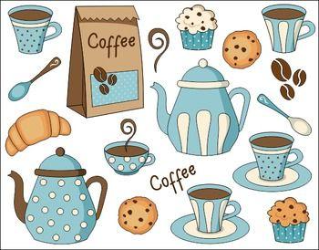 Coffee Time Digital Clip Art Set - Pot, Cup, Cookies, Cupcake #cutecups