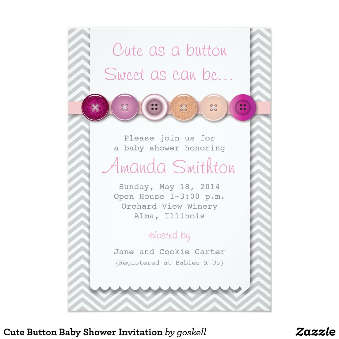 Cute Button Baby Shower Invitation | Shower invitations