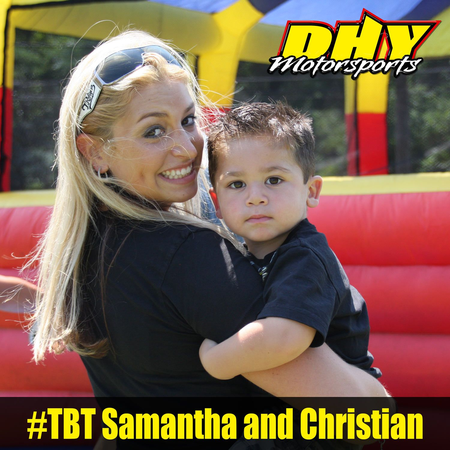 #TBT time warp to the #DHYMotorsports 2010 #SummerBash with Samantha and Christian getting ready for he bounce house