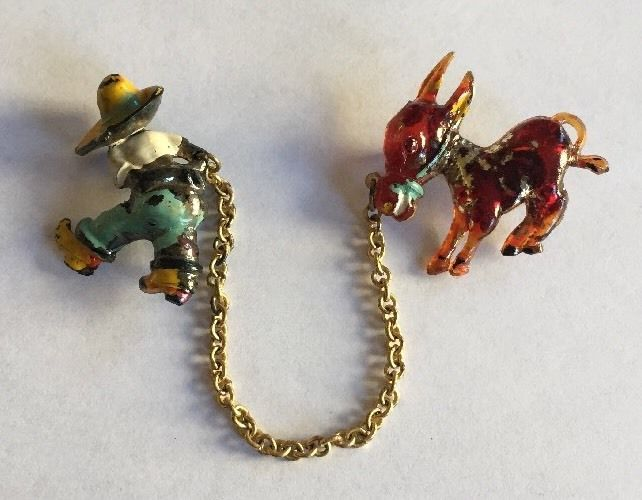 Vintage Plastic Brooch Pin 2 Piece Man Pulling Donkey by