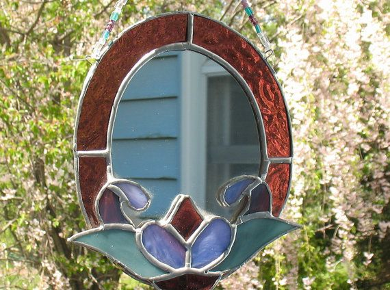 Stained Gl Oval Decorative Mirror Bathroom Decor Bedroom Wall Hanging