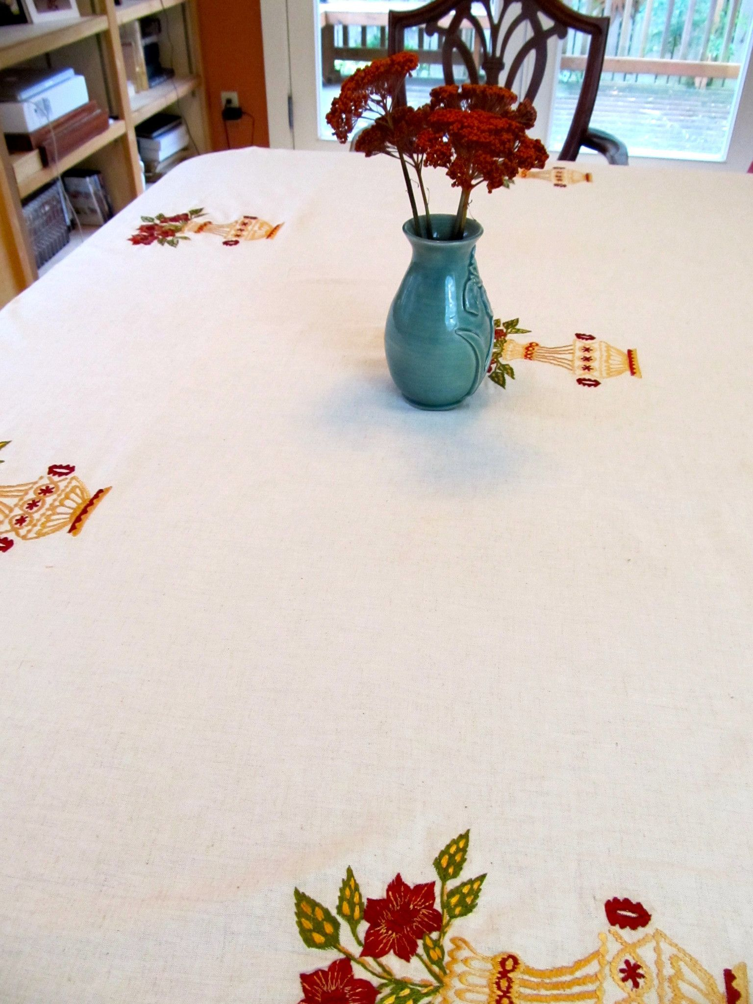 Table Cloth 54 Light Weight Cotton Linen Table Cloth With Embroidered Flowers In A Vase Embroidered Tablecloth Table Cloth Linen Tablecloth