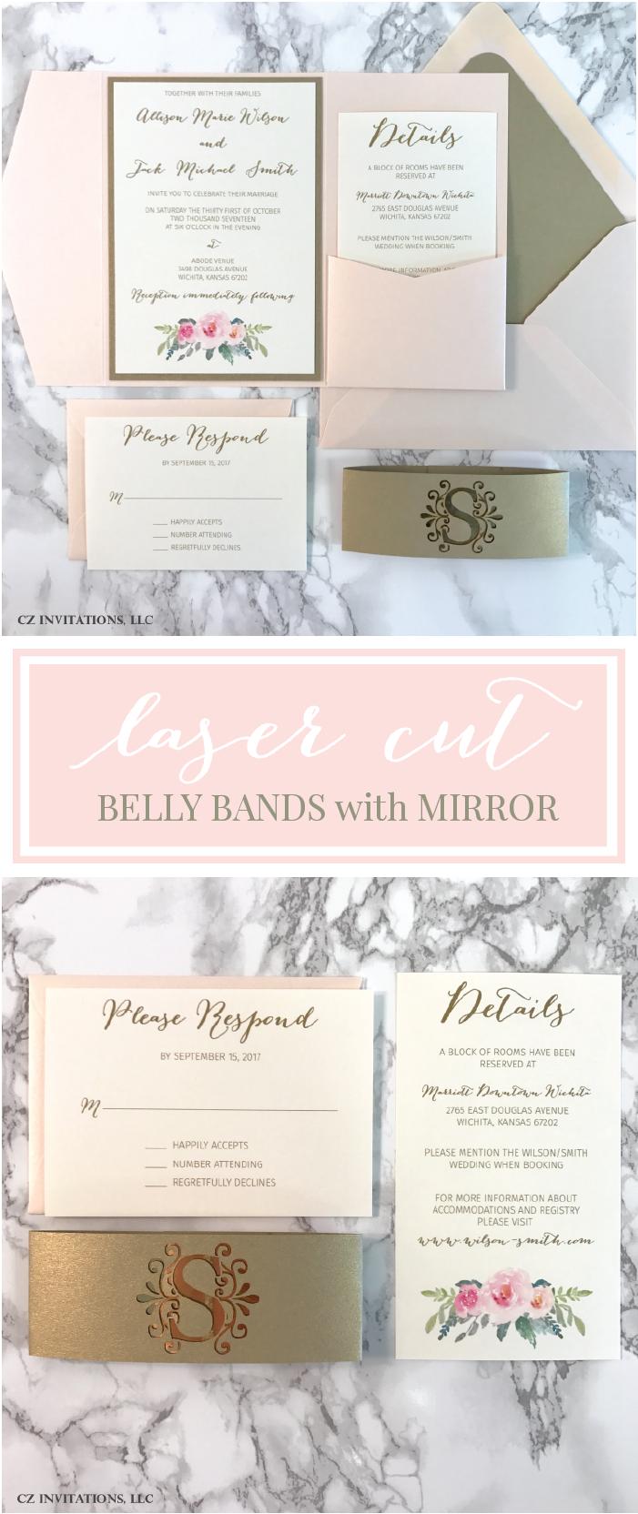Floral Blush and Gold Pocket Wedding Invitation   Belly bands ...