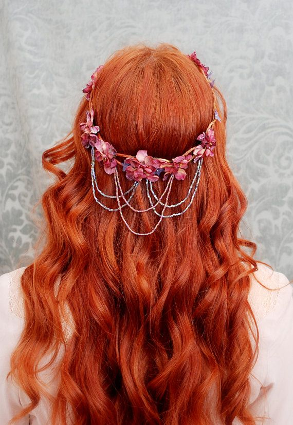 #red hair.  cascading floral elf crown from Gardens of Whimsy on Etsy.