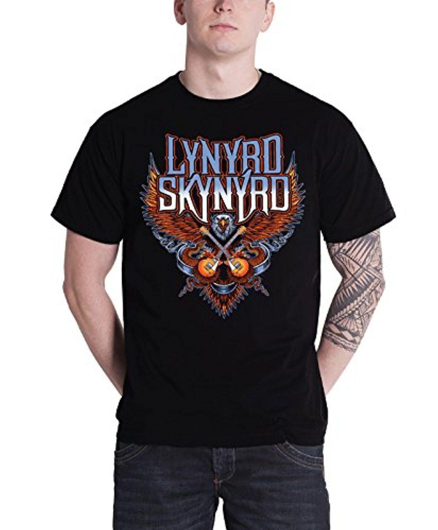Lynyrd Skynyrd T Shirt Crossed Guitars Band Logo Official Mens Black -- Awesome products selected by Anna Churchill