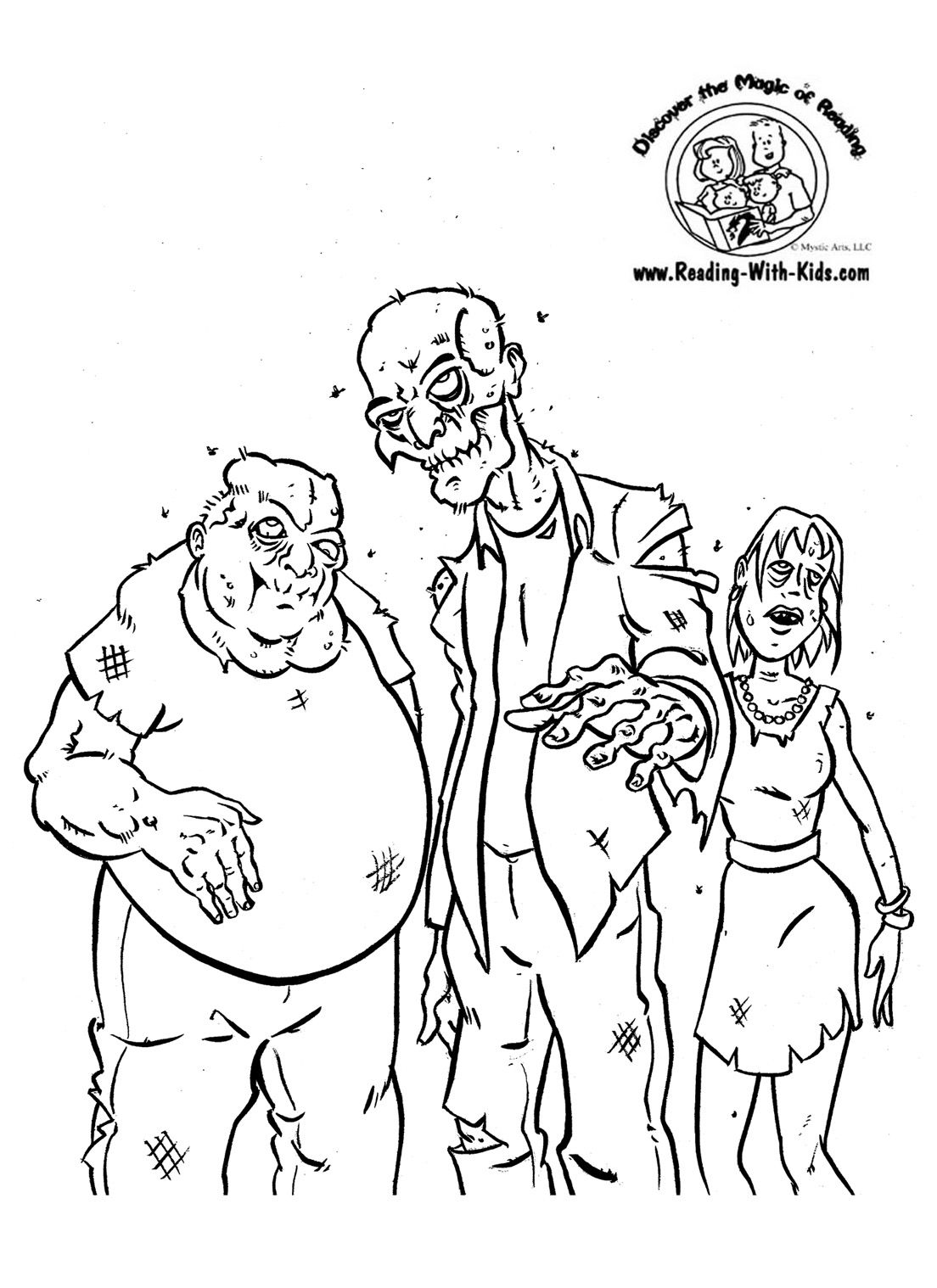Zombie coloring page Color HalloweenChildren