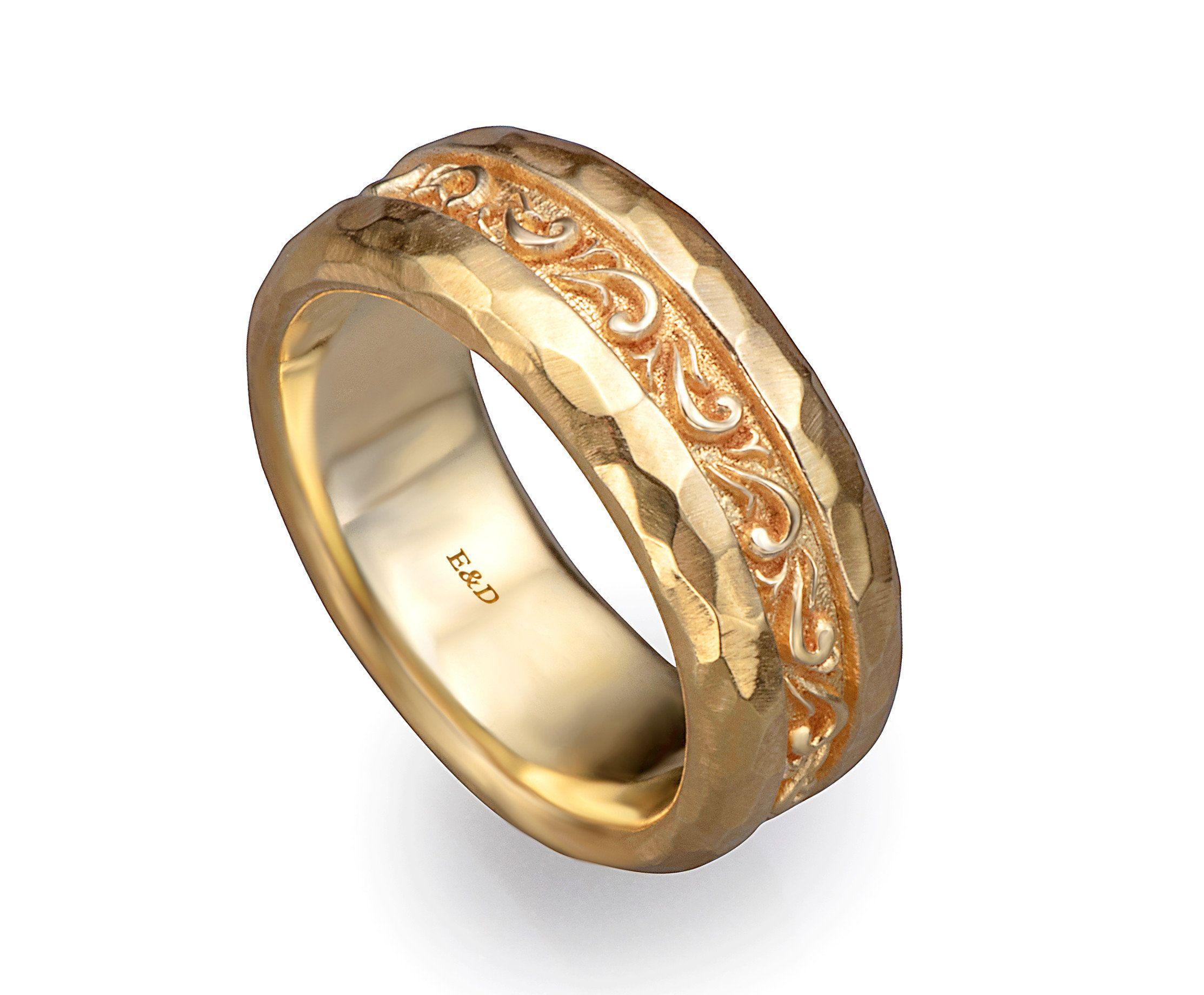 Solid 9K Yellow Gold  Everyday Rings MenWomen Wedding Anniversary Band Rings