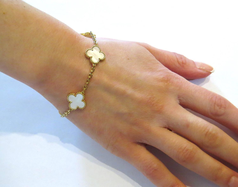 6df82c0b722d6f Van Cleef and Arpels Vintage Alhambra Mother of Pearl Gold Bracelet ...