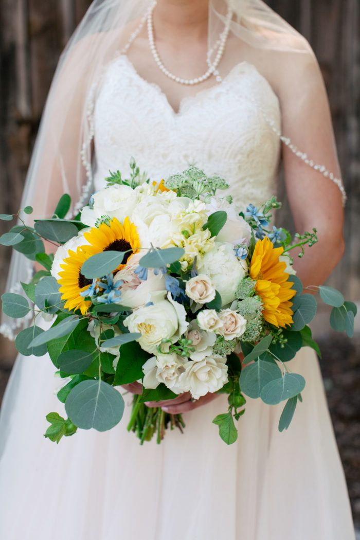 Elegant Sunflower Rose Eucalyptus Bouquet Leigh Pearce