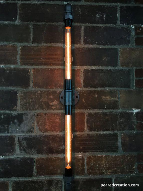 Industrial Wall Lamp Tube Edison Bulb by newwineoldbottles