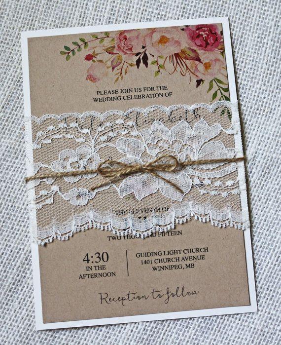 Rustic Wedding Invitation, Boho Chic Floral Wedding Invitation, Lace  Wedding Invitation, Kraft Wedding Invitation, Pink Floral, Bohemian
