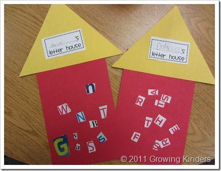 BOY letter houses (cut out magazine letters, paste onto letter house)