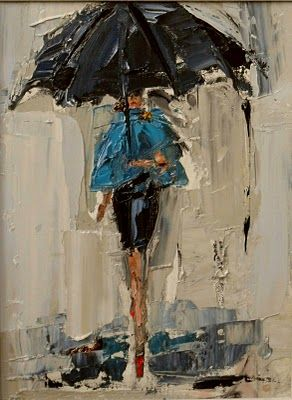 """Dancing in the Rain 3 (turquoise cape)""  oil on canvas  9x12""  By Kathryn Morris Trotter  www.kathryntrotterart.com  404-668-1394"
