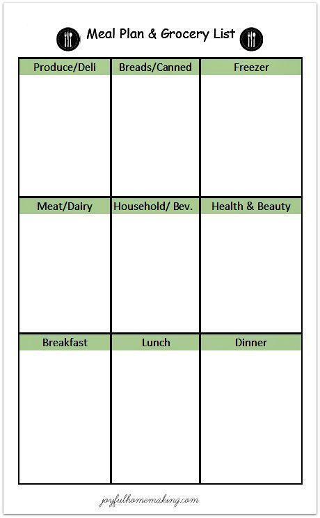 Free Printable Menu Planner and Grocery List Printable menu, Menu