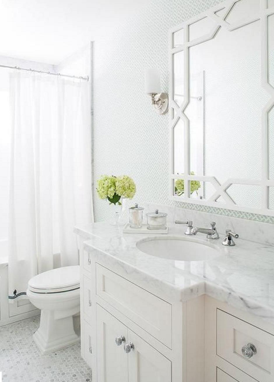 Vero White Lacquer Trellis Mirror Small space bathroom
