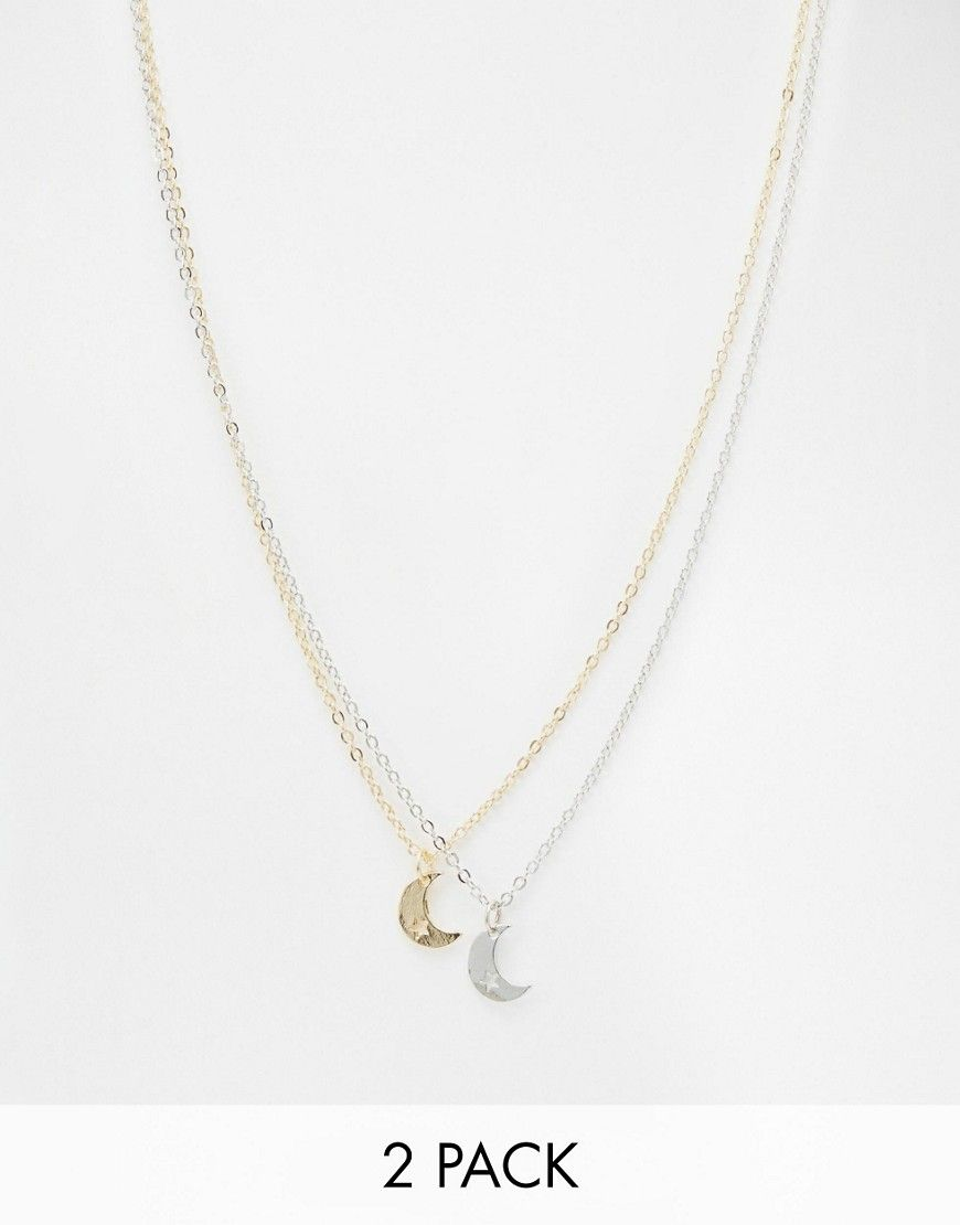 ASOS+Pack+of+2+Best+Friends+Moon+&+Star+Necklaces