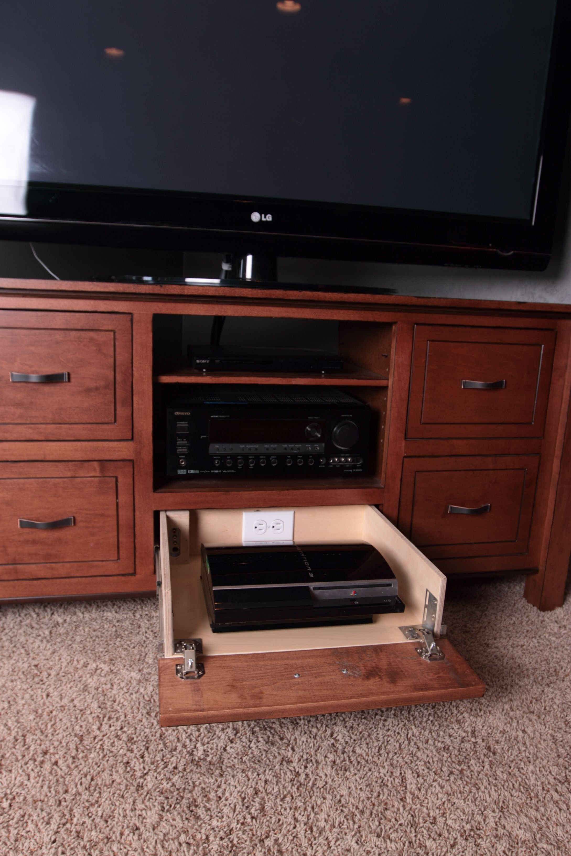 Tv Stand With Game Console Pullout High Noon, Custom Woodworking, Cabinet  Furniture, Console