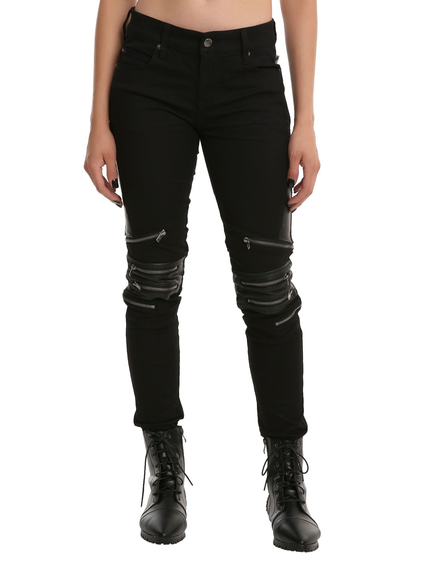 3b70f30d3f Tripp Black Zipper Knee Detail Skinny Jeans | Pin of the Day | Jeans ...
