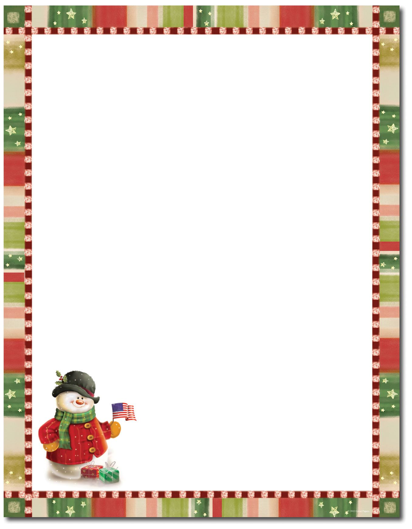 Patriotic Snowman Letterhead Christmas stationery