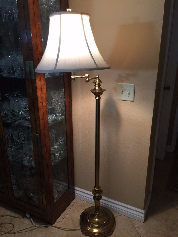 Vintage Heavy Solid Brass Swing Arm Floor Lamp 59 Quot Tall