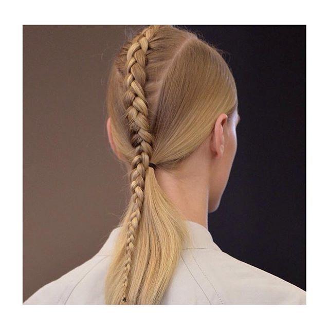 Braid designed by hair genius @eugenesouleiman  @streetersldn @nyfw @fashion_week #nyfw #fashionweek #victoralfarostudio #victoralfaro #spring2016 #SS16 #eugenesouleiman #hair #braid