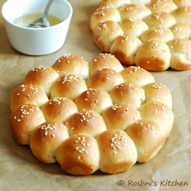 Roshni's Kitchen: Khaliat Nahal - Middle Eastern Honey Comb Bread - Sweet and Savoury Versions