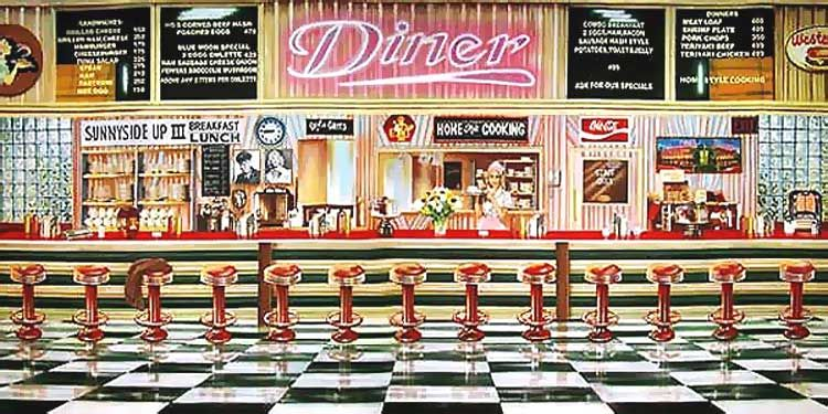 50 39 s diner background 51046 50 39 s diner inside backdrop 50s diner and soda fountain. Black Bedroom Furniture Sets. Home Design Ideas